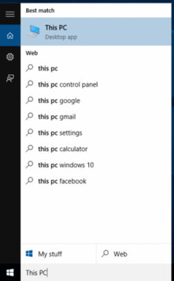 Search for This PC in Windows 10