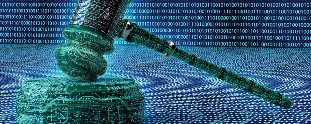 photo of a digital gavel depicting use of AI in law