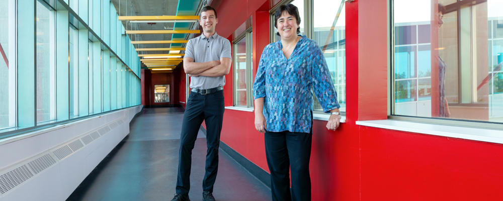 photo of Fiodar Kazhamiaka and Professor Catherine Rosenberg