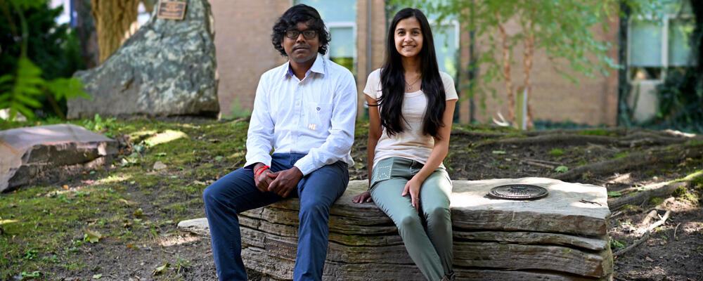 photo of Antony Albert Raj Irudayaraj and Nikhita Joshi showing PocketView devices