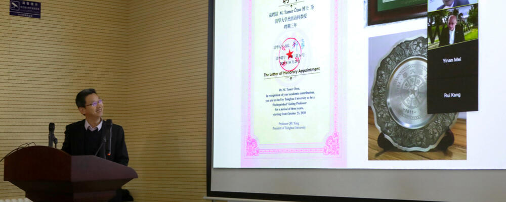 photo of virtual ceremony where Tamer Ozso named Distinguished Visiting Professor