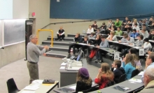 Lecturer and students in the lecture room