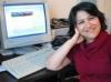 Zarrin Langari at her computer