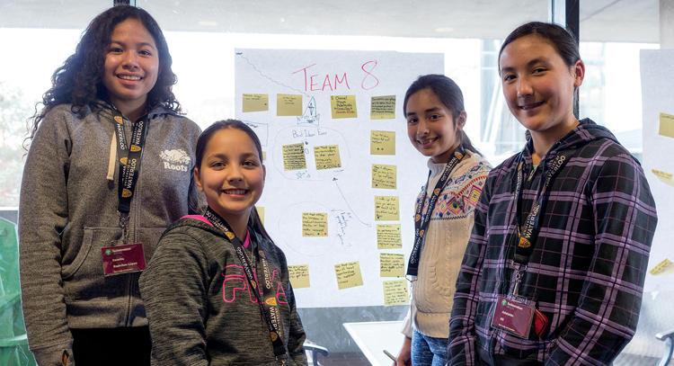 girls attending technovation session