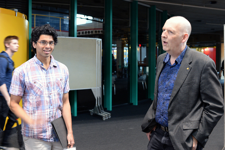 photo of Akshay Ramachandran (left) and Mark Giesbrecht