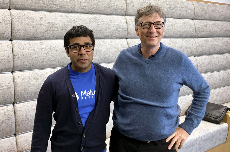 photo of Bill Gates and Maluuba founder Sam Pasupalak