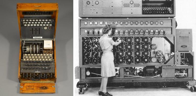 photo of enigma machine and bomba