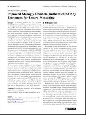 "screen grab of ""Improved Strongly Deniable Authenticated Key Exchanges for Secure Messaging"""