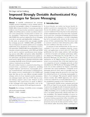imge of Improved Strongly Deniable Authenticated Key Exchanges for Secure Messaging