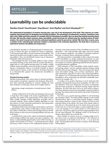 "paper titled ""Learnability can be undecidable"""