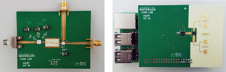 The mmX platform. A node (L) transmits its data to an access point (R).The mmX platform. A node (on left) transmits its data to an access point (on right).