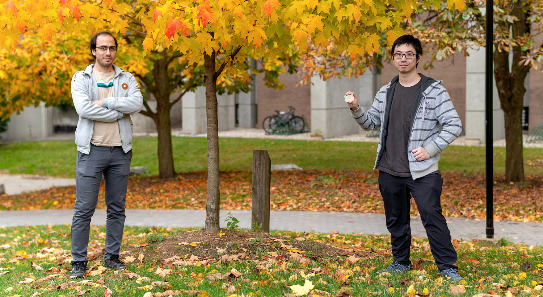photo of postdoc researcher Mohammad Mazaheri and master's student Alex Chen