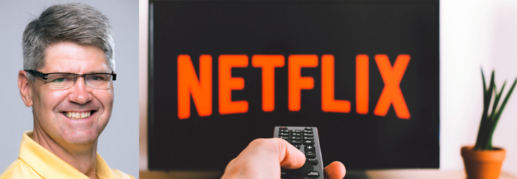 photo of Tim Brecht with Netflix on TV