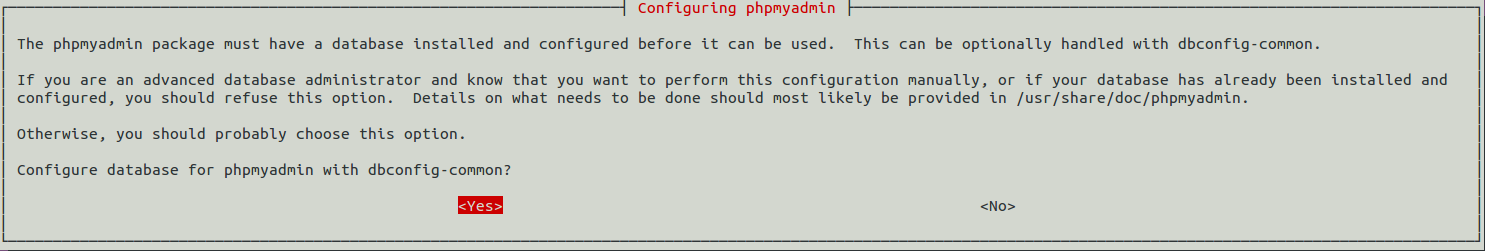 Screen shot: letting dbconfig-common configure a database for phpMyAdmin