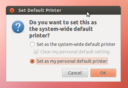 Default printer dialog