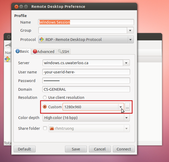 changing the resolution in Remmina