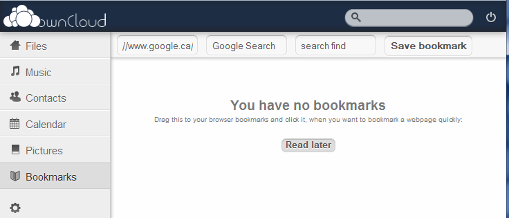 ownCloud bookmark interface