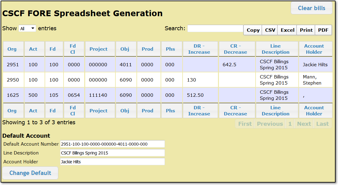 CSCF FORE Spreadsheet Generation