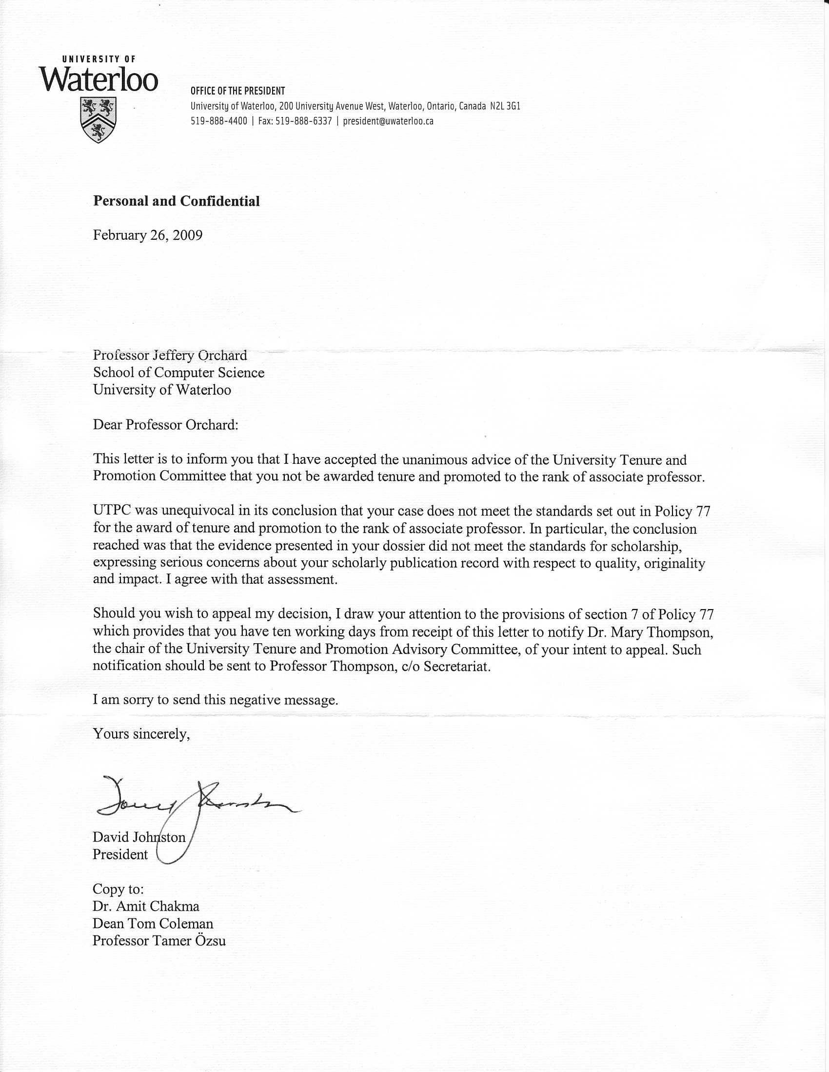 tenure letter